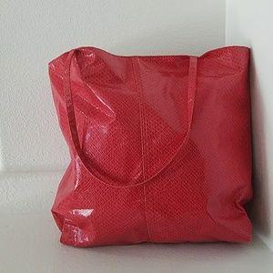 Saks 5th Avenue Faux Python Red Tote Bag